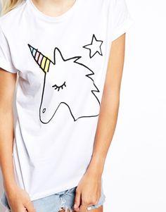 Enlarge ASOS Boyfriend T-Shirt with Cute Unicorn Print