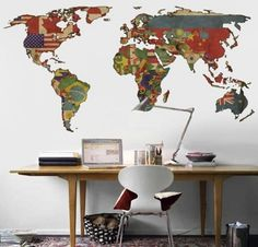 maps or globes in home decorating | ... Workspace | Flag Decoration | DIY Art | World Map Decor | Home Design