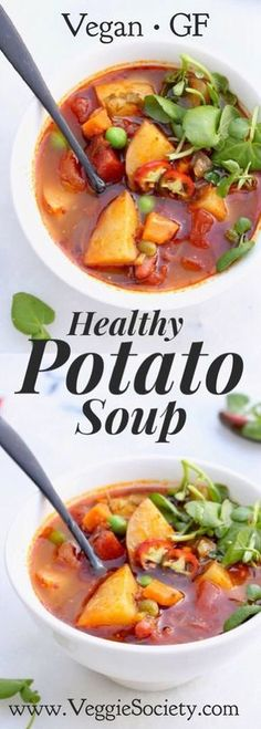 Healthy Vegan Potato Soup Recipe with Leeks and Green Peas. Quick and easy, hearty and nutritious | VeggieSociety.com @VeggieSociety #PotatoSoup #Vegan #healthy #recipe