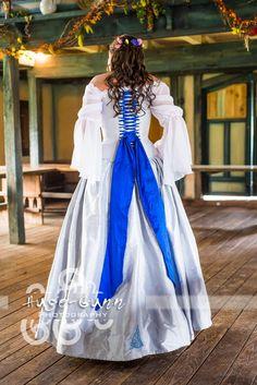 bride in renaissance wedding dress - I'd change the ribbon to match my colors (sunflower & bluebonnet)