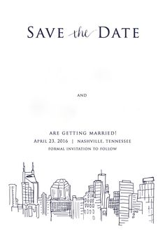 Simple Save the Date card with Nashville skyline. Names have been removed