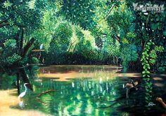 Product:Naive Painting. Title:Los Guatuzos Natural Reserve. Artist:Abel Vargas. Forest Painting, Aquarium, Creativity, Challenges, Natural, Inspiration, Products, Pintura, Art