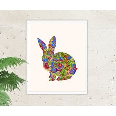 Instant Download, Rabbit Print, Bunny Print, Nursery Print, Bunny Art,... ($5) ❤ liked on Polyvore featuring home, children's room and children's decor