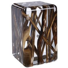 Side Table in Acrylic Glass and Burntwood Kisimi Ice