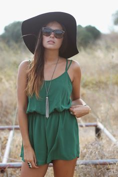 Cute romper, floppy wide brim & sterling tassel pendant.