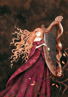 Harpist by Cathy Delanssay