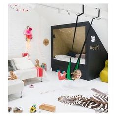 #designtips: Dreamy kid's room inspo....who wouldn't want a swing and a cool bed nook like this one? Shop our favorite design ideas to create sensory friendly kids' rooms on wolfandfriends.com . . . . . #kidsroom #kidsroomdecor #designideas #modernmini #sensoryplay #playroom #ministyle #ministylekids #littleandbrave #freerangekids #lovewolfandfriends #ikea #playroom #playroomdecor #playroominspo #littleandbrave #childhoodunplugged #celebratechildhood #seeksimplicity #imaginativeplay