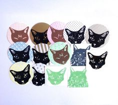 26 CAT STICKERS Colorful circle cat head by TheFelineBoutique