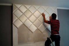 Ágyvég dekoráció műbőr falburkoló panelekből