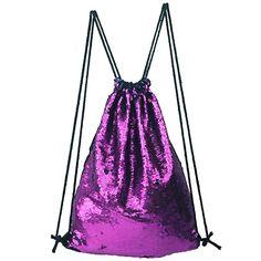 90ce03576a LINGTOM Mermaid Sequin Drawstring Bag Backpack Fashion Dance Party Gym Bags  Dancing Shoulder Bag with Pockets