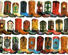 """Pick your cowboy boot artistry! Santa Fe's """"Back at the Ranch"""" Cowboy Boots sports hundreds of custom made styles. Custom Cowboy Boots, Cowboy And Cowgirl, Cowgirl Boots, Western Boots, Cowboy Hats, Cowgirl Style, Western Style, Western Wear, Wrangler Clothing"""