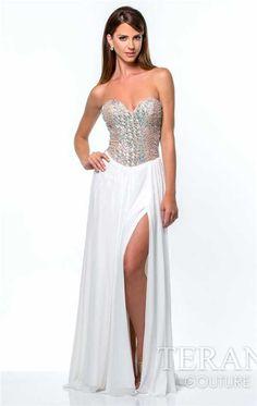 Terani 151E0257 Long Blush Beaded Halter Neck Prom Dresses ...