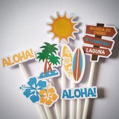 *** Copie e cole este link no navegador para conhecer todos os produtos deste tema em nossa loja: http://www.elo7.com.br/tema-surf-havai/al/BF9E2 ***    Os toppers podem ser de todos os desenhos apresentados na imagem, de alguns ou somente um deles. Se desejar, as cores podem ser alteradas. Os no...