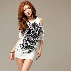 Women's Print Cold Shoulder T-Shirt – USD $ 13.79
