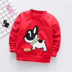Baby Boys T shirts Dog Pattern Cotton Long Sleeve