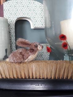 BadBirdCrafts - latest addition to my #etsy shop: Hand made needle felted rabbit and poppies on vintage bristle brush https://etsy.me/2KSd85Y #art #fibreart #brown #birthday #fathersday #red #rabbit #bunny #woolfeltrabbit
