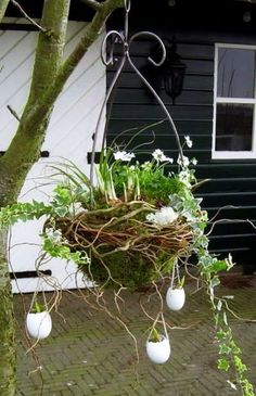 "Over ideas for ""Easter wreaths - Ostern Easter Garland, Easter Tree, Easter Wreaths, The Colour Of Spring, Easter Traditions, Deco Floral, Decorated Jars, Succulent Pots, Hanging Baskets"