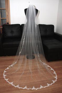 Embroidered Lace Veil Chapel lace veil by CoutureBrideBoutique