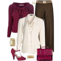 Fall Fashion for Work. I would have to change the fuschia color for a mustard or pumpkin color.
