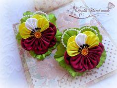 Cloth Flowers, Satin Flowers, Felt Flowers, Fabric Flowers, Ribbon Art, Ribbon Crafts, Flower Crafts, Band Kunst, Diy And Crafts