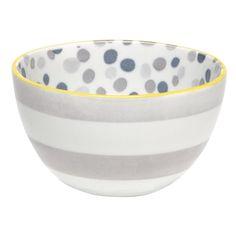 dots + stripes bowl, gray