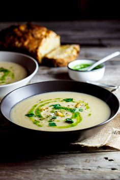 Smooth and silky celeriac and potato soup flavoured with roasted garlic and finished with a bright green parsley oil to add a little freshness.