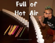 """Pushing Cup Game - Push the cup by blowing into the straw to move them across a line on the table. """"Minute to Win It"""" Party Games, http://hative.com/minute-to-win-it-party-games/,"""