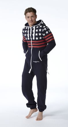 Snuggaroo Men's Navy USA Stars Stripes Nordic Onesie OnePiece One Piece Jumpsuit