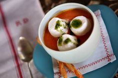 Marshmallow soup at Rise No. 1. Are those really marshmallows in the tomato soup? No, they're tiny goat cheese souflees!