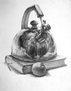 Pencil Sketch Drawing, Pencil Shading, Basic Drawing, Pencil Art Drawings, Art Drawings Sketches, Figure Drawing, Drawing Ideas, Still Life Sketch, Still Life Drawing