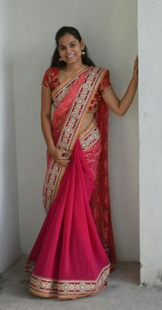 Designer sarees in pink color