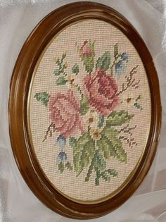 VINTAGE Needlepoint Pink Roses Framed Signed Shabby Cottage Chic Oval Wall Decor Picture 1920s.
