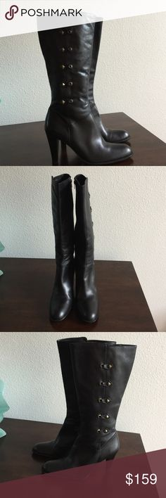 LEATHER BOOTS VERY GOOD LOOKING BOOT MID CALF Nina Shoes Heeled Boots