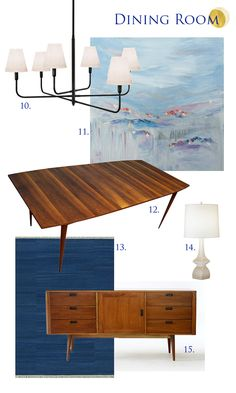 Curbly's makeover Dining Room Resources: 10. Lamps Plus Chandelier | 11. Mountains of Things Artwork | 12. Vintage Dining Table | 13. Loloi Rug | 14. Lamps Plus Lamp | 15. Blue Ocean Traders Credenza
