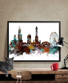 Chicago Skyline Wall Art Chicago Art Poster by FineArtCenter
