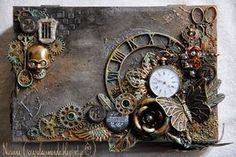 great collage, like the clock ring especially **** My World !: My Scrap'uleux box sugar ! Mixed Media Boxes, Mixed Media Collage, Mixed Media Canvas, Steampunk Book, Steampunk Crafts, Altered Canvas, Altered Art, Altered Boxes, Cigar Box Crafts