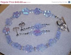 Great Deals Now 925 Silver Baby Blue AB Czech Glass  Beaded Bracelet 7.5 inches long and Earrings set