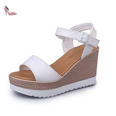 RUGAI-UE Chaussures à talon femme Chaussures Sandale à talon haut Peral Flower, White, US9/EU40/UK7
