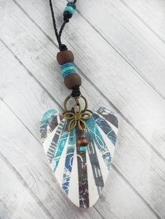 Polymer Clay Large Pendant Beach Jewelry by WiredOrchidJewelry