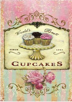 "Vintage ""World's Best Cupcakes"" sign. Decoupage Vintage, Decoupage Paper, Cupcake Kunst, Cupcake Art, Rose Cupcake, Cupcake Toppers, Cupcake Fondant, Images Vintage, Vintage Pictures"