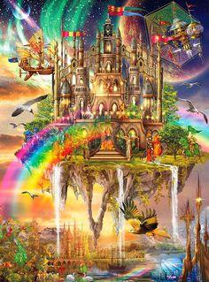 Vivid: Rainbow City - Jigsaw Puzzle By Buffalo Games Fantasy City, Fantasy Castle, Fantasy Places, Fantasy World, Art Visionnaire, Rainbow City, Buffalo Games, Cross Paintings, Futuristic Architecture