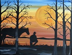 """Silhouette painting created with acrylic colors on a 11x14x1'' framed cotton canvas, """"In the Silence"""" with a cowboy his horse and a sunset. I love this one!! at www.rachelolynukart.com"""