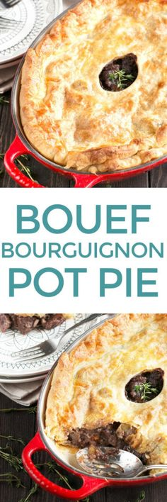 Boeuf Bourguignon Pot Pie is the classic French red wine stew you know and love, wrapped up in flaky golden puff pastry! The rich braised beef is cooked in the traditional way, but the pot pie element makes it a real show-stopping dinner for Sunday supper or any dinner party you have coming up. Though this recipe takes a bit of time, the decadence is well worth the effort. Trust me. Boeuf Bourguignon Pot Pie | cakenknife.com #dinner #potpie #stew
