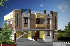Front elevation of house design in india - House and home design House Roof Design, 2 Storey House Design, Village House Design, Bungalow House Design, Facade Design, Facade House, Modern House Design, Wall Design, Exterior Design