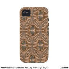 Art Deco Bronze Diamond Pattern iPhone 4/4S Cases