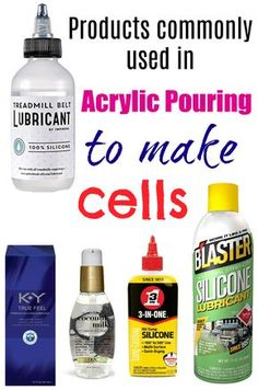 Products used in acrylic pouring to make cells. Silicone oil, treadmill oil, hair serum, blaster silicone spray, all products compared