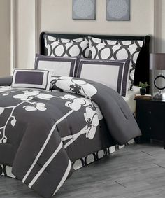 Love this Slate Gray Orchidea Reversible Overfilled Comforter Set by Duck River Textile on #zulily! #zulilyfinds