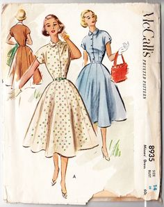 Vintage 1952 McCall's 8935 Sewing Pattern Misses' Dress Size 14 Bust 32