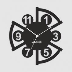 Buy Laser Craft Store Black Acrylic 3D Unique Designer Wall Clock at low prices in India only on Winsant.com Cute Clock, Diy Clock, Clock Decor, Clock Ideas, Wall Clock Design, Clock Wall, Minimalist Wall Clocks, Snowflake Template, Wall Watch