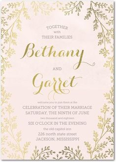 Botanical Luster: Radiance - Signature Foil Wedding Invitations - Smudge Ink - White : Front